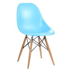 Set Of 2 Chairs, Blue ABS, Wooden Legs