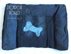 Jeans dog bed, Huge, Denim, Dog bedding, Take off covering, Blue, Bone decoration, Comfortable, Upcycled, Repurposed