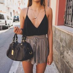 black cami + taupe shorts