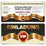Einladungskarten zum Geburtstag (30 Stück) VIP Karte Ticket Einladung mit UV-Lack, edel: Amazon.de: Bürobedarf & Schreibwaren