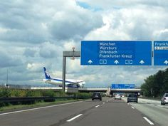 Frankfurt Airport lies 12 km (7.5 mi) southwest of central Frankfurt, near the Autobahn intersection Frankfurter Kreuz, where two of the most heavily used motorways in Europe (A3 and A5) meet.