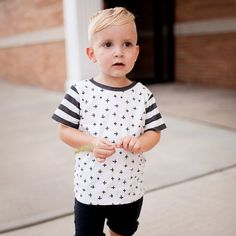 Gray Stripes & Checks Oversized Tee  Baby by fawnkidsclothing