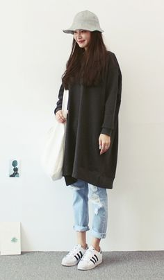 Sibuya - Cotton Boxy Ops - sweatshirt -damaged, frayed, denim jeans - striped cotton bucket hat - Korean Fashion - Korean Style