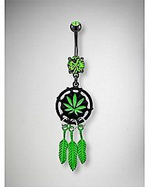 14 Gauge Green Leaf Dreamcatcher Dangle Belly Ring