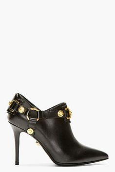 Versace Black Leather 'Medusa' Medallion Ankle Boots $1,225 Spring Summer 2012 #Shoes #Heels #Booties