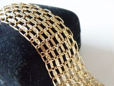 "14K Yellow Gold Sterling Silver 925 Mesh Style WIDE Link Bracelet 7.5"" #OTTurkey #Chain"
