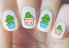 Nail Design Spring Nails Cactus nail short nails that are good for summer are also ok ~! Pedicure Designs, Gel Designs, Nail Art Designs, Nail Designs For Kids, Nails Design, Cute Nail Art, Cute Nails, Pretty Nails, Stickers Kawaii