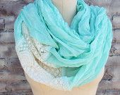 Cute Infinity  scarf with ivory color lace  for woman great accessory for your outfit