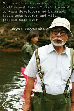 Hayao Miyazaki, creator of Studio Ghibli. Hayao Miyazaki, Art Studio Ghibli, Studio Ghibli Movies, Studio Ghibli Quotes, Film Animation Japonais, Profound Quotes, Film D'animation, Howls Moving Castle, Spirited Away