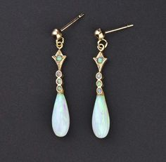 Vintage Gold Opal Tear Drop Earrings  #Vintage #Earrings #Opal #Victorian #intage #Natural #9K #Gold #Salmon #Peridot