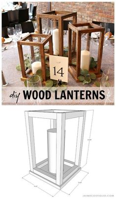 Make your own wedding table decor with beautiful DIY wood lantern centerpieces. Perfect for any event - holiday party, special celebration - and super easy to construct. crafts with wood DIY Wood Lantern Centerpieces - Jaime Costiglio Decor Crafts, Wood Crafts, Diy Home Decor, Room Decor, Wood Home Decor, Easy Crafts, Beginner Woodworking Projects, Diy Woodworking, Woodworking Furniture