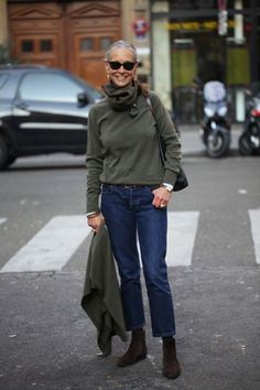 This combination of a dark green crew-neck jumper and navy jeans is perfect for off-duty occasions. Dark brown suede chelsea boots will give your look an on-trend feel. Shop this look on Lookastic: https://lookastic.com/women/looks/crew-neck-sweater-dress-shirt-jeans/13876 — Dark Green Print Scarf — Dark Green Crew-neck Sweater — Black Leather Tote Bag — White Dress Shirt — Navy Jeans — Dark Brown Suede Chelsea Boots