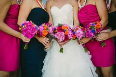 Waterbrook Winery Wedding in Walla Walla: Kristen + Greg Summer Wedding, Diy Wedding, Wedding Day, Bridesmaid Dresses, Pink Bridesmaids, Wedding Dresses, Bridesmaid Inspiration, Summer Flowers, Bright Pink