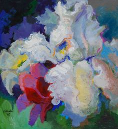 """""""White Iris in Company,"""" Acrylic on Canvas, 66 x 60 in."""