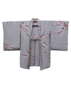 http://www.fujikimono.co.uk/fabric-japanese/hanabi.html  ☆ New Arrival ☆ 'Hanabi' #women's #vintage light #grey # #silk #haori #kimonojacket #pine #leaves #motif #design from #FujiKimono #kimono #oriental #Japanese #textile #costume #kawaii #cosplay #HyperJapan #vintagefair