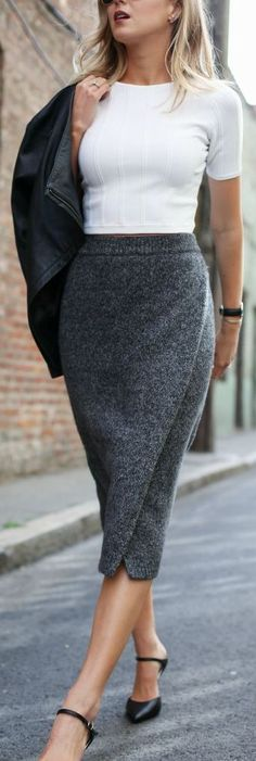 Dark Grey Knit Pencil Skirt One Should Pair With White Crop Top With A Black Leather Jacket And Black Heels.