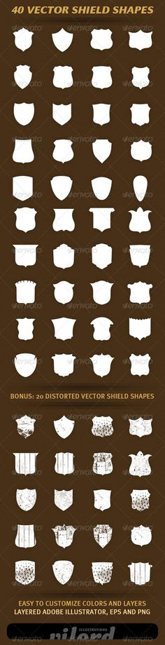 40 Vector Shield Shapes - http://graphicriver.net/item/40-vector-shield-shapes/1732596?ref=cruzine