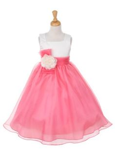 Ivory with Coral Organza Skirt Flower Girl Dress (Sizes 2-12 in 4 Colors)