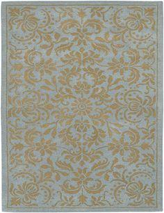 Light Blue and Gold Damask Rug