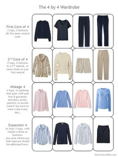 """a """"4 by 4 Wardrobe"""" in navy, khaki, blue and pink - maybe wih gray instead of navy.  Navy is too dark of a top for me."""