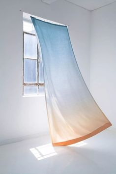 From the Founders of Calico Wallpaper: Summery Cope Textiles as Linen Curtains - Remodelista Orange Ombre, Textiles, Linen Curtains, Gypsy Curtains, Curtain Fabric, Curtain Designs, Of Wallpaper, Window Coverings, Interiores Design