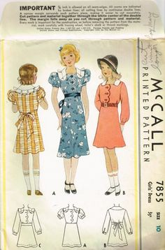 VINTAGE 1930s 1934 McCall Girls DRESS PATTERN by fadedrosevintage