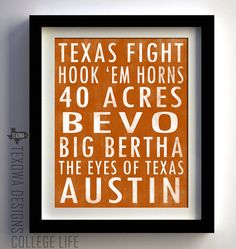 University of Texas Longhorns Subway Scroll Art