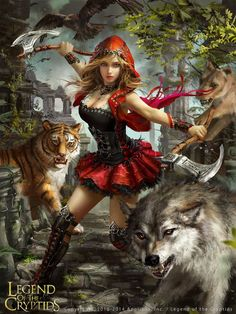Legend of the Cryptids - Felicitas (adv) by anotherwanderer little red riding hood female beast master queen druid ranger armor clothes clothing fashion player character npc | Create your own roleplaying game material w/ RPG Bard: www.rpgbard.com | Writing inspiration for Dungeons and Dragons DND D&D Pathfinder PFRPG Warhammer 40k Star Wars Shadowrun Call of Cthulhu Lord of the Rings LoTR + d20 fantasy science fiction scifi horror design | Not Trusty Sword art: click artwork for source
