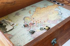 DIY shadow box drawer lined with cork and a map to mark your travels   |  CherylStyle.com
