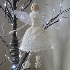 Lace Christmas Angel/Fairy Decoration by PercyandEve on Etsy, £11.99