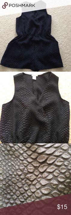 Black snake skin shorts romper Black snake skin shorts romper large Bar III Pants Jumpsuits & Rompers