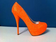 NEON Orange Glitter Heels perfect for your wedding Baldwin Sparkly Heels, Glitter Pumps, Prom Heels, Shoes Heels, High Heels, Glitter Bomb, Fab Shoes, Dream Shoes, Orange Wedding Shoes