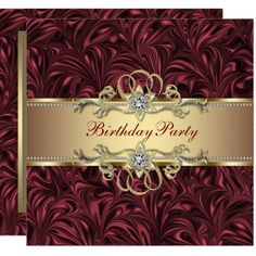 281c3f5acc0 Red Wine Gold Birthday Party Invitation Fiesta De Cumpleaños Dorada