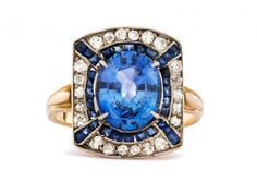 Edwardian Sapphire & Diamond Ring at Trumpet and Horn.