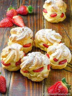 Strawberry Cream Puffs - this is a dreamy dessert! These Strawberry Cream Puffs make perfect snack or dessert. Very easy to make with few ingredients! These Strawberry Cream Puffs are so light, fresh, moist and delicious. Perfect for every occasion! Köstliche Desserts, Delicious Desserts, Yummy Food, Elegant Desserts, Strawberry Cream Puff Recipe, Strawberry Dessert Recipes, Puff Pastry Recipes, Sweet Pastries, Strawberries And Cream