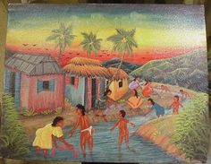 Oil on Canvas, Caribbean Scene, Artist Signed on Reverse, Lucken found on Ruby Lane