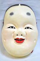 Wooden! Japanese Traditional Kagura Mask OKAME Demon Noh Kabuki Bugaku Samurai