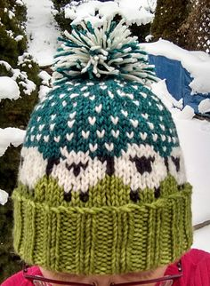 Baa-ble Hat by Donna Smith | malabrigo Rios in Lettuce and Teal Feather and other yarns.