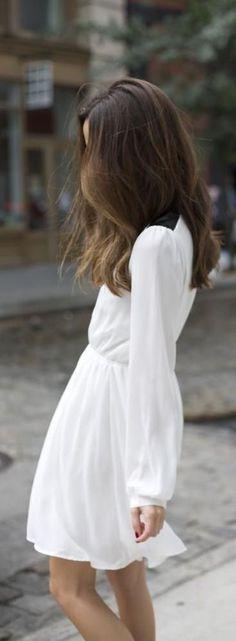 #street #fashion summer : long sleeve white dress @wachabuy
