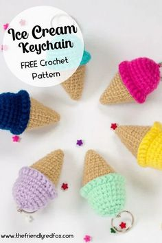Free Ice Cream keychain crochet pattern! Fast to make amigurumi pattern. Great pattern for a beginner!