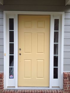 Jun 2019 - Front door re-do with Benjamin Moore's Marblehead Gold (the SW yellow that we picked was too pale/pastel. House Front Door, Black Interior Doors, Yellow Doors, House Front, Doors Interior, Exterior Doors, Outdoor Porch Lights, House Paint Exterior, Yellow Front Doors