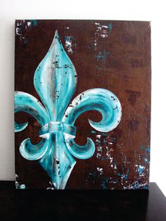 Fleur de Lis are my absolute favorite to paint.  I love how the dramatic curves lend themselves to deep shading.  I painted this piece with peacock colors in mind.  Bright teals and blues against a deep umber background.  This piece will add color and drama to any space. Original knife painting 24x30x1.5 Acrylic on canvas. Actual painting may vary from picture as with all original art. Allow 4 -6 weeks for completion.