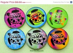SALE  Sea Turtle Magnets Round Glass Magnets Kitchen by StickThis, $7.65