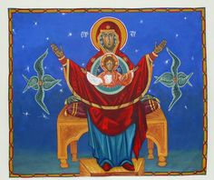 Icon of the Theotokos: She who is wider than the heavens Acrylic on unframed canvas 6 x 5 feet
