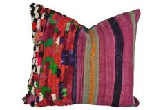 Moroccan Purple Tufted Pillow w/Stripes