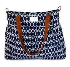 Navy Blue Circle XLarge Diaper Bag - Leather Straps - Nappy Bag - Stroller Bag - Diaper Bags - Baby Changing Bag - Tote Bag