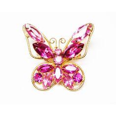 Pink Rhinestone Butterfly Brooch Earrings Set Juliana StyleDemi Parure... ($67) ❤ liked on Polyvore featuring jewelry, brooches, rhinestone pins brooches, vintage broach, pink rhinestone brooch, pink brooch and vintage jewelry
