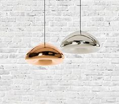 Tom Dixon Void Pendant Light by Replica Lights is constructed with quality glass and finished in chrome. Copper Pendant Lights, Glass Pendant Light, Glass Pendants, Pendant Lighting, Mini Copper, Copper Glass, Dome Ceiling, Ceiling Lights, Wall Lights