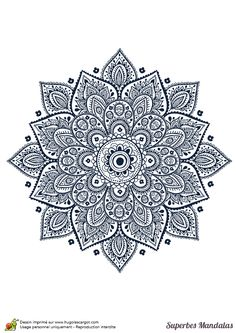 Beautiful flower mandala ~ can be used as a greeting card by Transia Design, via Shutterstock Mandala Art, Mandalas Drawing, Zentangles, Lotus Mandala, Lotus Flower, Mandala Coloring, Colouring Pages, Coloring Books, Stencils