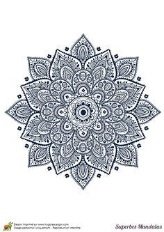 Coloriage d'un superbe mandala en forme de fleur géométrique - Hugolescargot.com